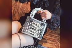 Silver Box Hand Bag with pearls