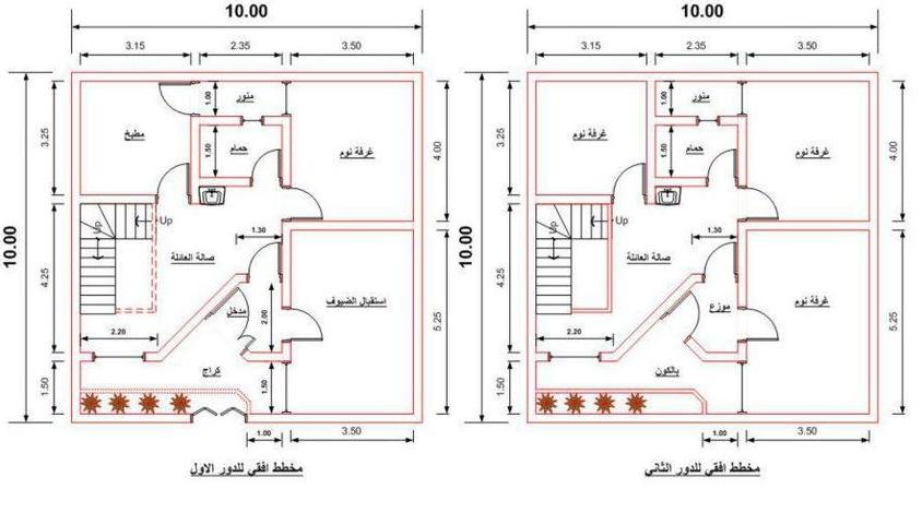 مجموعة خرائط بطابقين مساحة بابعاد(10m×10m)